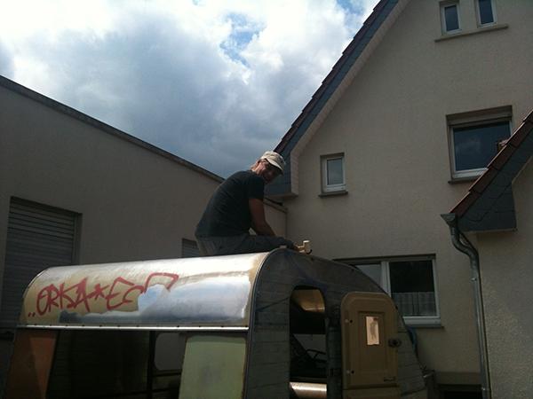 Qek mit Jens auf dem Dach